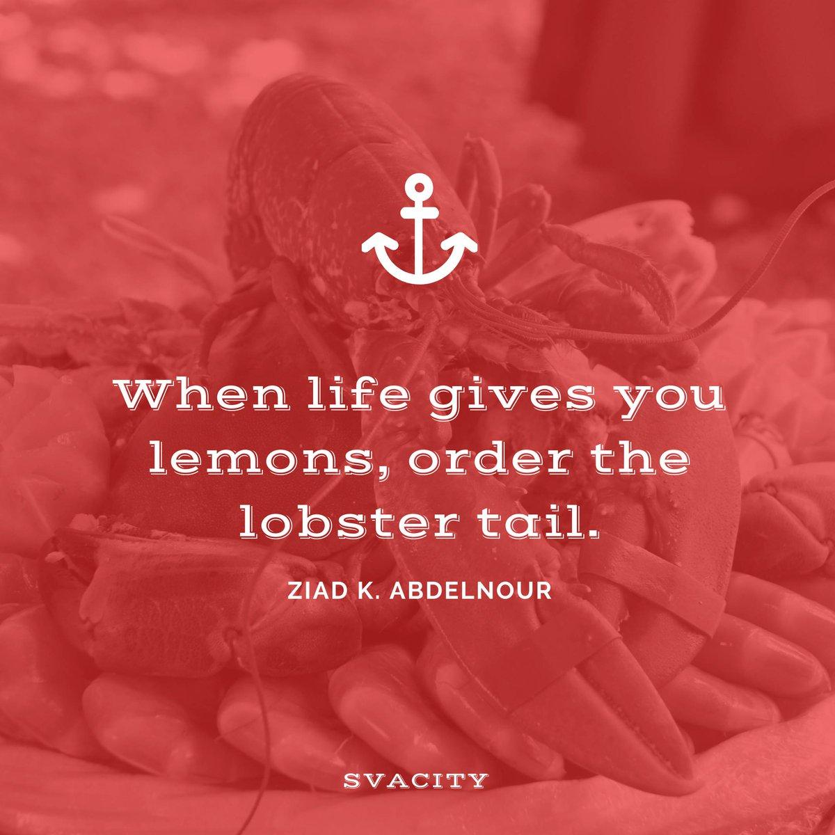 When life gives you lemons. Make the best of it. ❤ #motivation #lobster #lemons