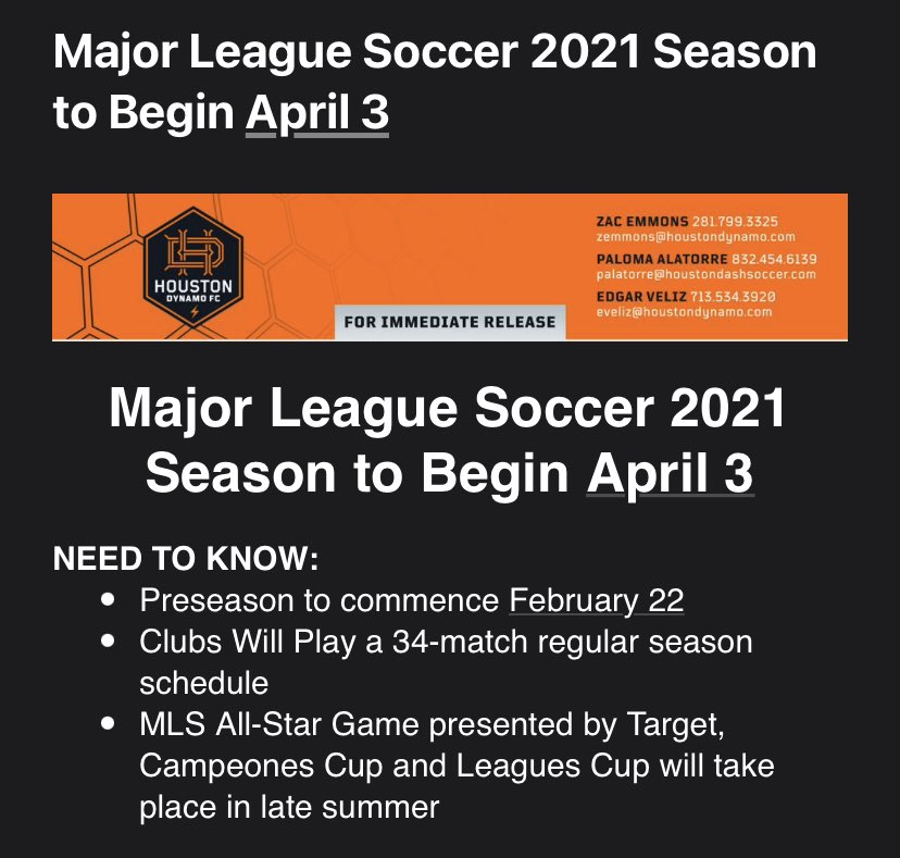 #BREAKING: #MLS will begin their 2021 season on April 3rd.  Players will be brought back in on Feb. 22 for the start of training camp in quarantine.  The plan is to play all 34 games.  Important dates: #DecisionDay: Nov. 7 #MLSCupPlayoffs start: Nov. 19 #MLSCup: Dec. 11