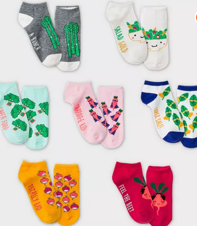 Girls' 7pk Super Foods No Show Socks - Cat & Jack™ Mint $1.79-$2.09  #affiliate #target #deals #clearance #parenting #childrensclothes