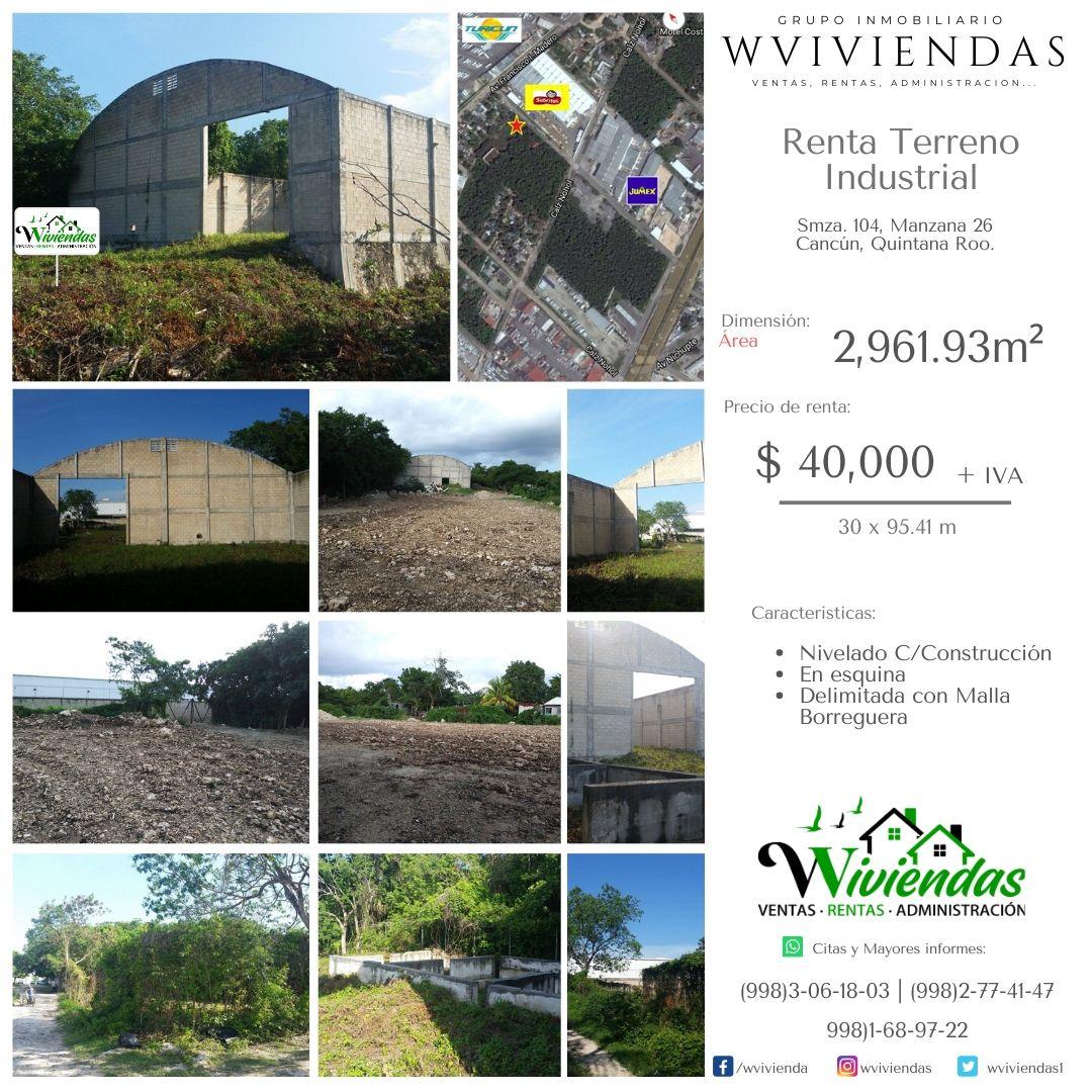#RENTA  #Terreno Industrial Nivelado Con Construcción - 2962m² - Sm.104 #cancun - $ 40,000. Agenda una cita hoy mismo #Enterate #Cancun #Merida #FelizInicioDeSemana #FelizLunes #LunesDeGanarSeguidores #MondayMotivation  @TwittPlaya @cancun_promo