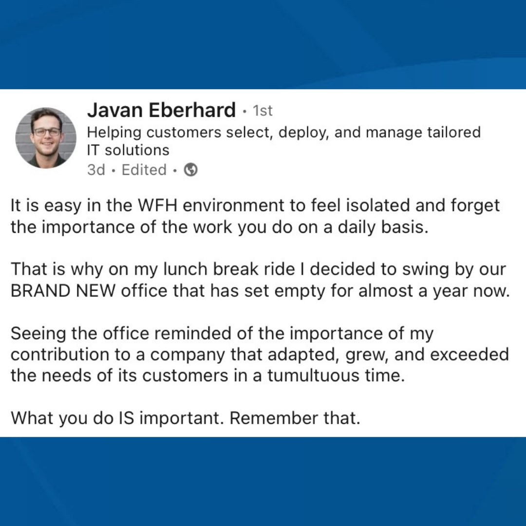 Who agrees with Javan? 🙋♀️🙋♂️Thanks so much for sharing! #RealPeople #RealValue #WhySHI #SHIGarza #MondayMotivation #WorkLifeBalance #Covid19