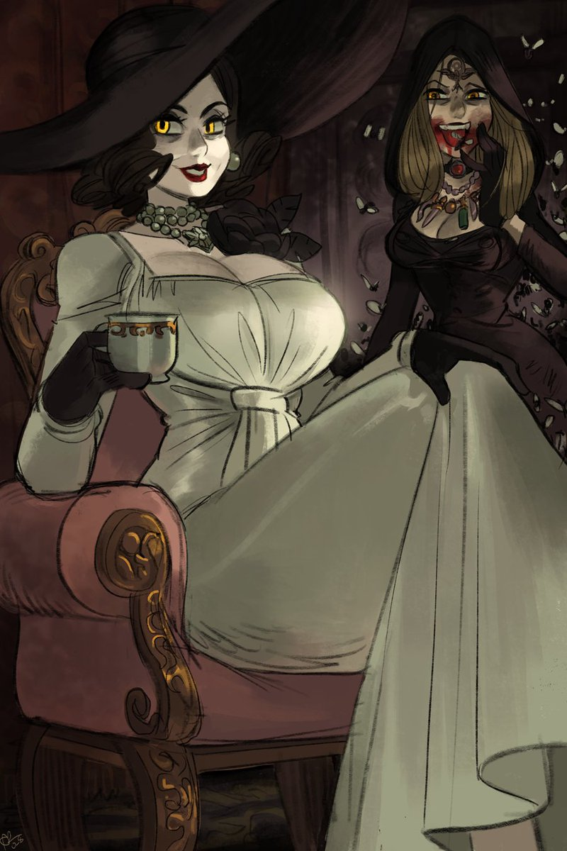 Goodness, you look must be absolutely parched, dear. Why not have something to drink?  Couldn't resist drawing RE8-Feet Tall Lady Dumitrescu haha, so joining in on all that.  #ResidentEvilVillage #RE8 #vampirelady