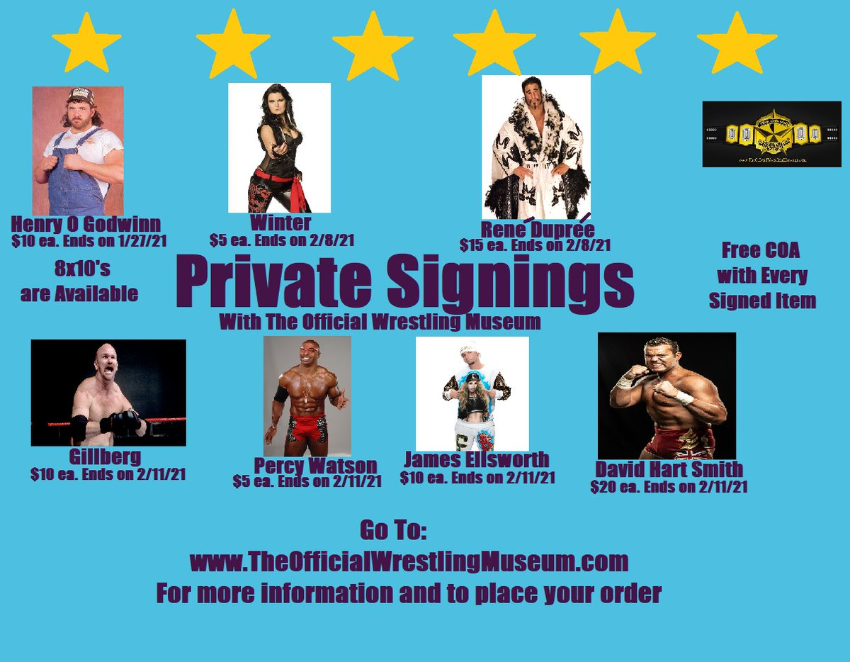 Henry O Godwinn, @katarinasinfamy @RealReneDupree @DBSmithjr @realellsworth @Duanegill3 Percy Watson    All our signing are at a Special 1 time only price from these great workers #WWE #RAW #WWERAW Goldberg Morrison
