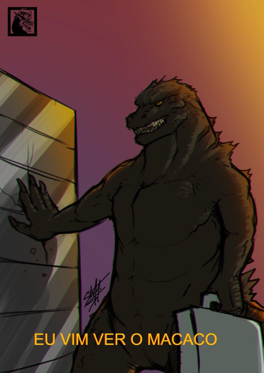 Godzilla chegando na treta  #TeamKong #TeamGodzilla #GodzillaVsKong #Godzilla #GodzillavKong #movies #fanart #Memes #memekaiba
