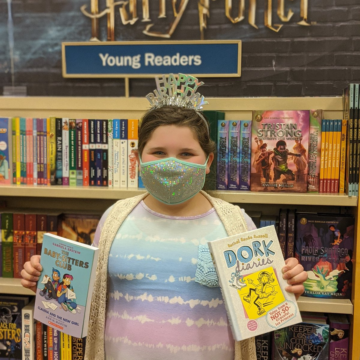 We want to wish Sira a Big Happy 9th Birthday! She came in this morning so excited to pick out her #birthdaygirl #books. They are loyal Barnes & Noble members and love #HarryPotter. #bn #bnnewhartford #bnbestyearyet  #dorkdiaries #thebabysittersclub #avidreader #makeawish