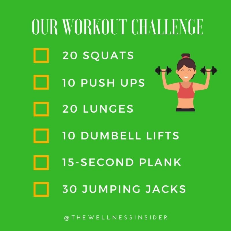 Need inspiration for today's workout? Why not try our simple challenge! #wellnessinsider #fitness #exercise #workout #healthandwellness #wellness #healthyliving