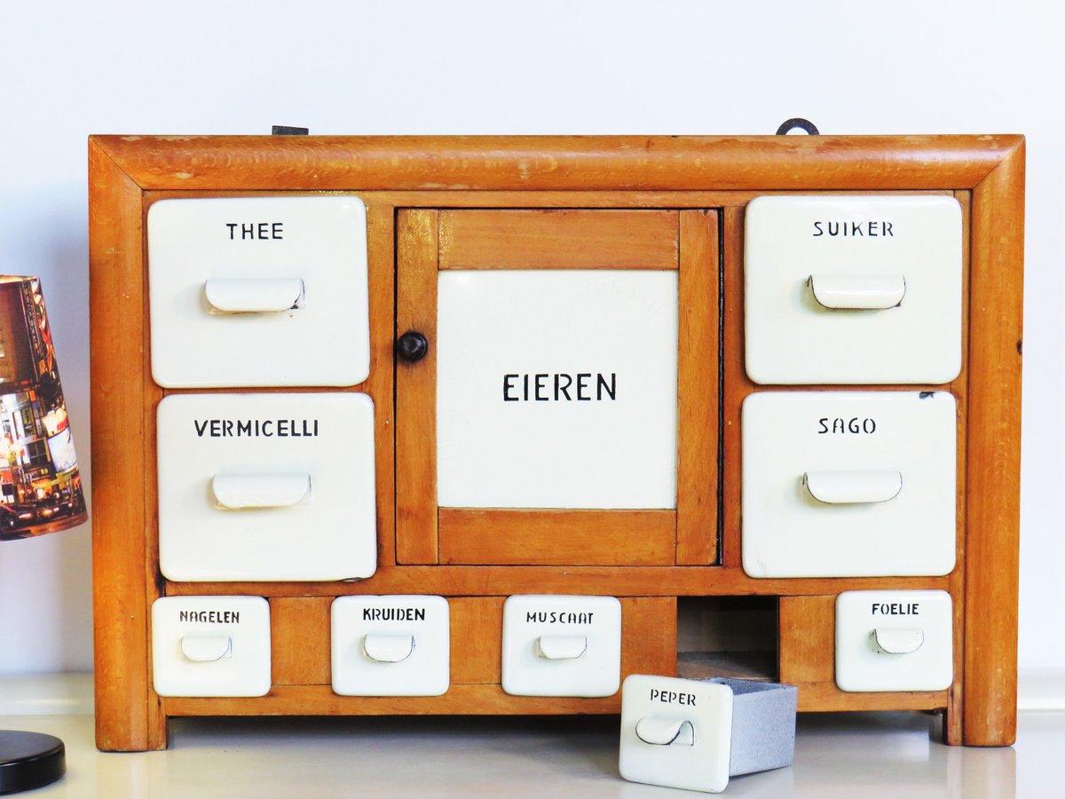 Vintage Rare ENAMEL Kitchen Cabinet Spice Cabinet Antique Wooden Kitchen Spice Rack Cabinet Dutch Spice Cabinet Drawers Holland 50s  #Wedding #CYBERSALE #MyNewTag #BlackFriday #Vintage #Retro #Christmas #covid-19 #Enamel