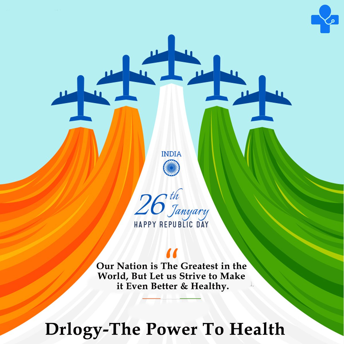 Healthy Wishes For Healthy Future of The Nation.  #drlogy #drlogyapp  #healthyeating #health #fitness #fitnessmotivation #happyrepublicday #26january #2021#nation #healthylifestyle #FitIndiaMovement #fitfam #healthyliving #staysafe #stayfit #staystrong #stayhome #StayFit