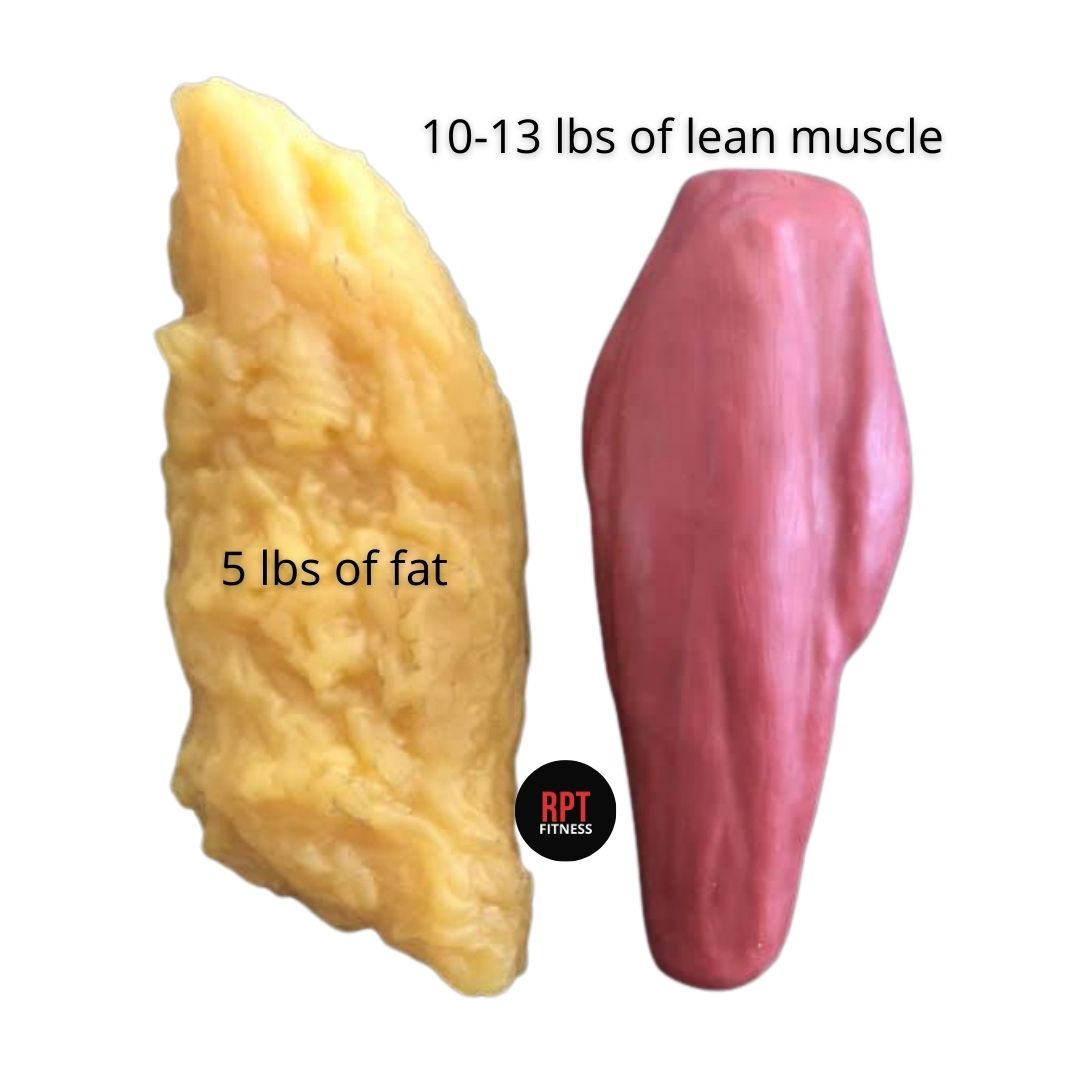 This is what 5 pounds of #fat look like compared to roughly 10-13 pounds of lean body #muscle.  #science