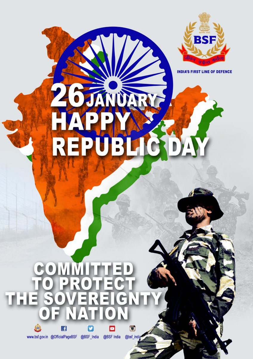 Wishing fellow citizens a Happy Republic Day. Seema Praharis resolve to rise to challenges of duty & expectations of the nation and discharge our responsibilities in the best traditions of the Force.  सीमा सुरक्षा बल - सर्वदा सतर्क #JaiHind  #FirstLineofDefence #RepublicDay2021