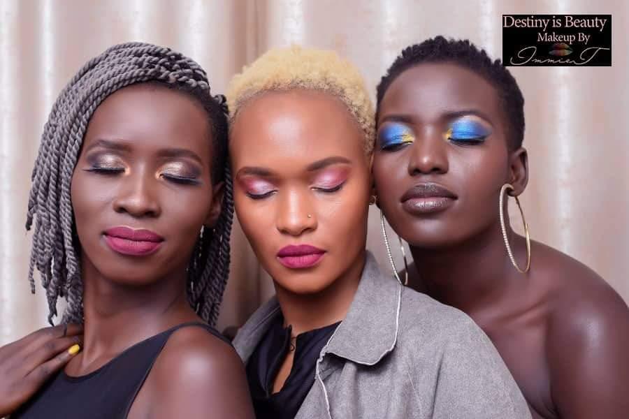 #melaninpoppin #makeup   A rainbow of melanin.  Makeup by ImmieT of @Makeupkampala . @tinytweep .  Every shade is beautiful!
