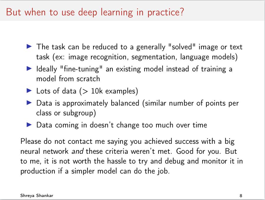 Shreya Shankar slide: 'But when to use deep learning in practice?'