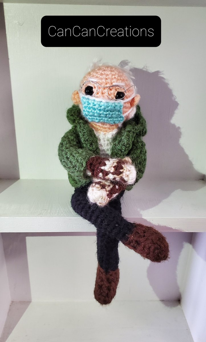 Had to make him! Portion of his sale goes to #theblockgivesback. Message us on  to take him home   #BernieSandersMittens #handmade Based on pattern from #tobeytimecrochet