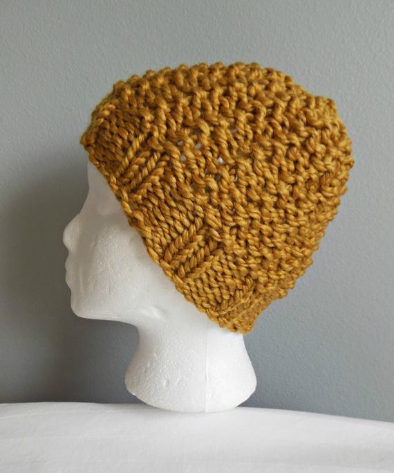 Hand Knit Thick &  via @EtsySocial #etsymntt #handmade #mustardhat #mustardbeanie