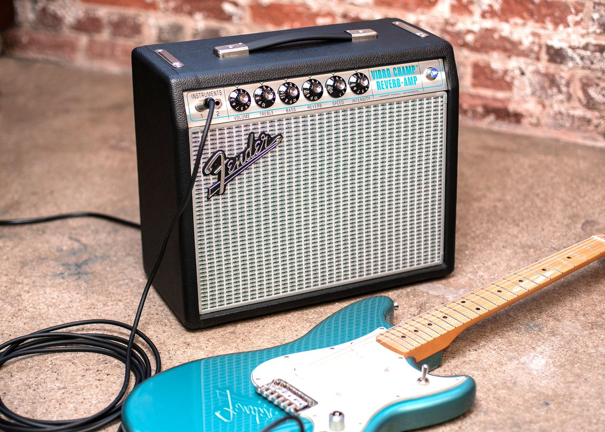 "Good vibes. The new @Fender '68 Custom Vibro Champ Reverb offers a modern update on a vintage studio staple. With its upgraded 10"" Celestion speaker, tube-driven tremolo & built-in digital hall reverb, you get classic tone in a small, versatile package."