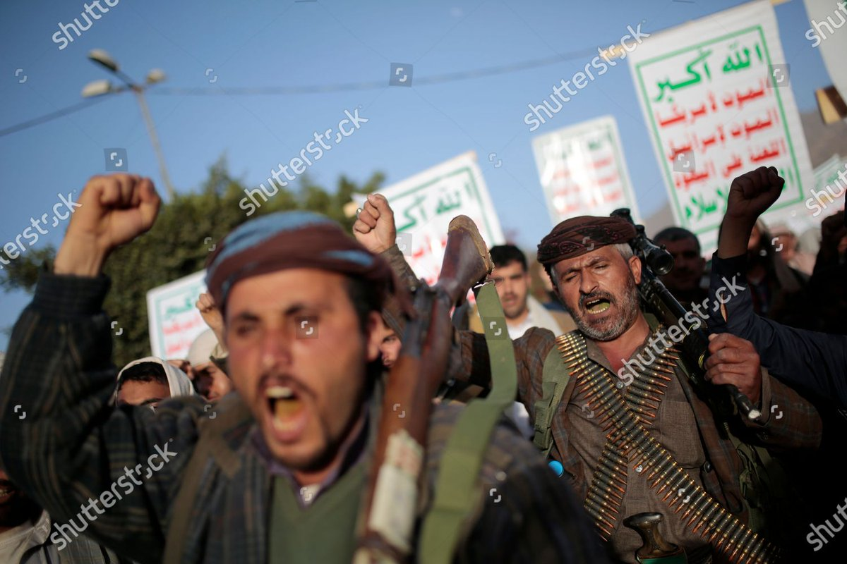الحوثيون يتظاهرون في صنعاء ومحافظات أخرى مدججين بالأسلحة رفضاً لتصنيفهم منظمة إرهابية  #اليمن #yemen