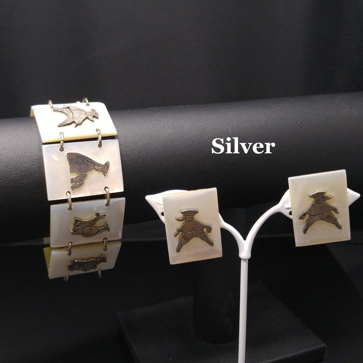 #etsy shop: Mother of Pearl Asian Links Bracelet & Screw Back Earrings, Sterling, 1940s Vintage Jewelry  #white #people #silver #bracelet #women #midcentury #motherofpearl #sterlingsilver #linkbracelet