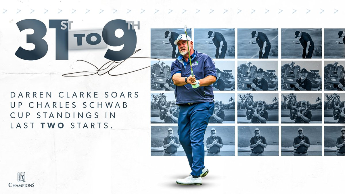 Darren Clarke is surging! 📈  After wins in his last two starts, @DarrenClarke60 is now 9th on the Schwab Cup standings.