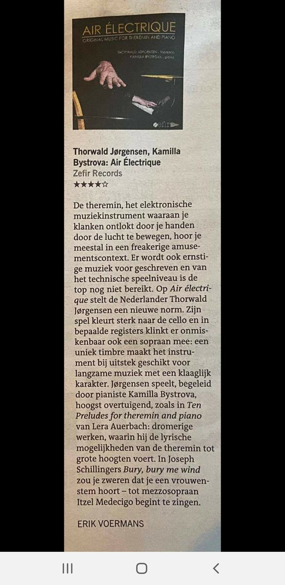 What a #Nice #Review about our #album AIR ÉLECTRIQUE in Leeuwarder Courant! @thjorgensen #theremin, #xylophone and @Kamillabystrova #piano in #collaboration with Itzel Medecigo #mezzosoprano #zefirrecords  #Available on #Spotify #iTunes #Amazon etc #newmusic #originalmusic 🎶🎤🎧
