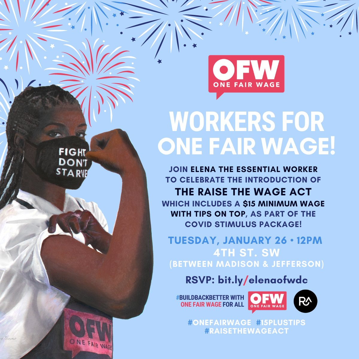 Tomorrow is a big day!   Join us on Capitol Hill as the #RaiseTheWage Act is announced! Workers will be there for to ensure that Congress sees support for ensuring that EVERy worker receives a living wage of $15 per hour.   #OneFairWage #AmericanRescuePlan