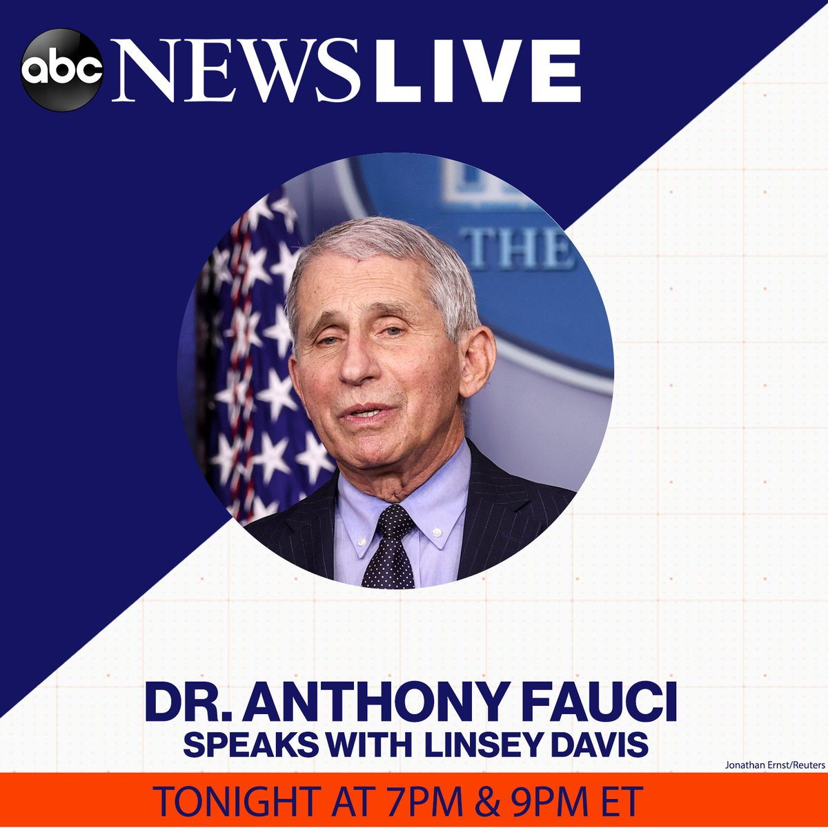 TONIGHT: Dr. Anthony Fauci sits down with @LinseyDavis to discuss COVID-19 vaccine distribution, his time working for the Trump administration and what to know about emerging variants.   Tune in to @ABCNewsLive at 7PM & 9PM ET for the full interview.