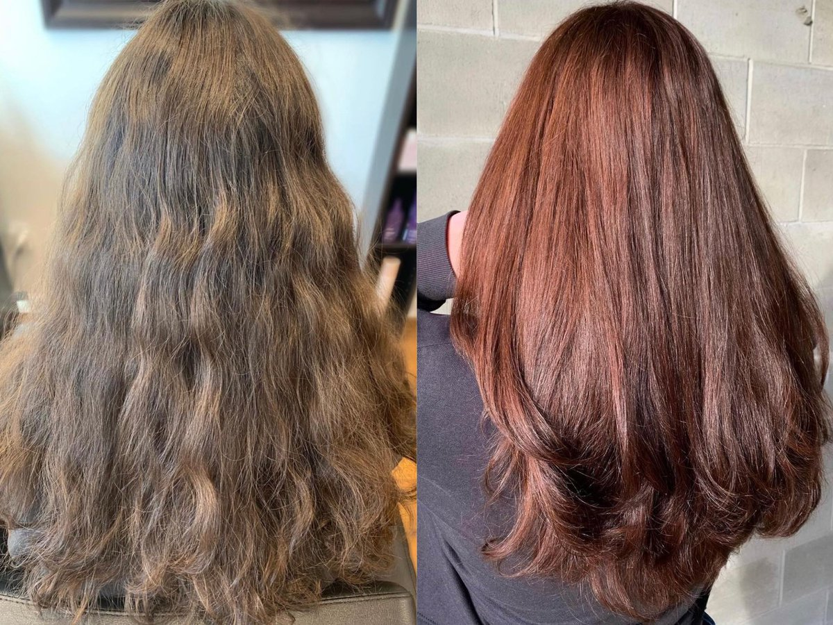 Check Out Isabel's #Hair !  𝘚𝘪𝘮𝘱𝘭𝘺 𝘈𝘶𝘣𝘶𝘳𝘯 🤍  What a #beforeandafter ! This colour looked absolutely gorgeous on Erin's client it could have been her natural! 😍  Color, Cut & #Style by Erin   #auburnhair #hairsalon #northvancouver #kevinmurphy #kevinmurphycolor #yvr