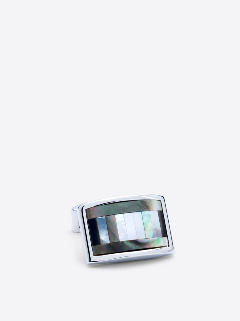 Rhodium plated rectangular cufflinks with iridescent mother of pearl stripes framed by a lustrous enamel contour. Presented in our logo stamped gift box.  Regular Price: $79.50 Your Saving: -20% Special Price $63.60  #shopping #style #menswear #ootd