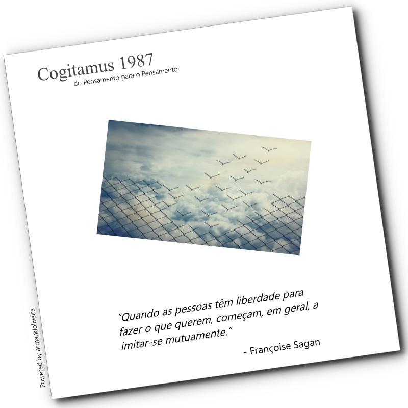 Cogitamus 1987 - Françoise Sagan #reflexão #pensamentododia #frases #RitmoDoEstudo #NãoPercaOFoco  #IssoVaiPassar #motivação #sabedoria #reflection #thoughts  #dreams #reflectionoftheday