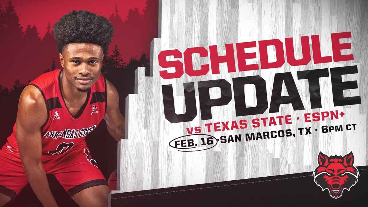 🚨 SCHEDULE UPDATE 🚨   We're making up 1 of the two games previously scheduled at Texas State. Second game canceled.  📆 Tuesday, Feb. 16 🕕 6:00 PM 📍 San Marcos, Texas More: https://t.co/XN4QukL1Ev https://t.co/RbH0BhchAK
