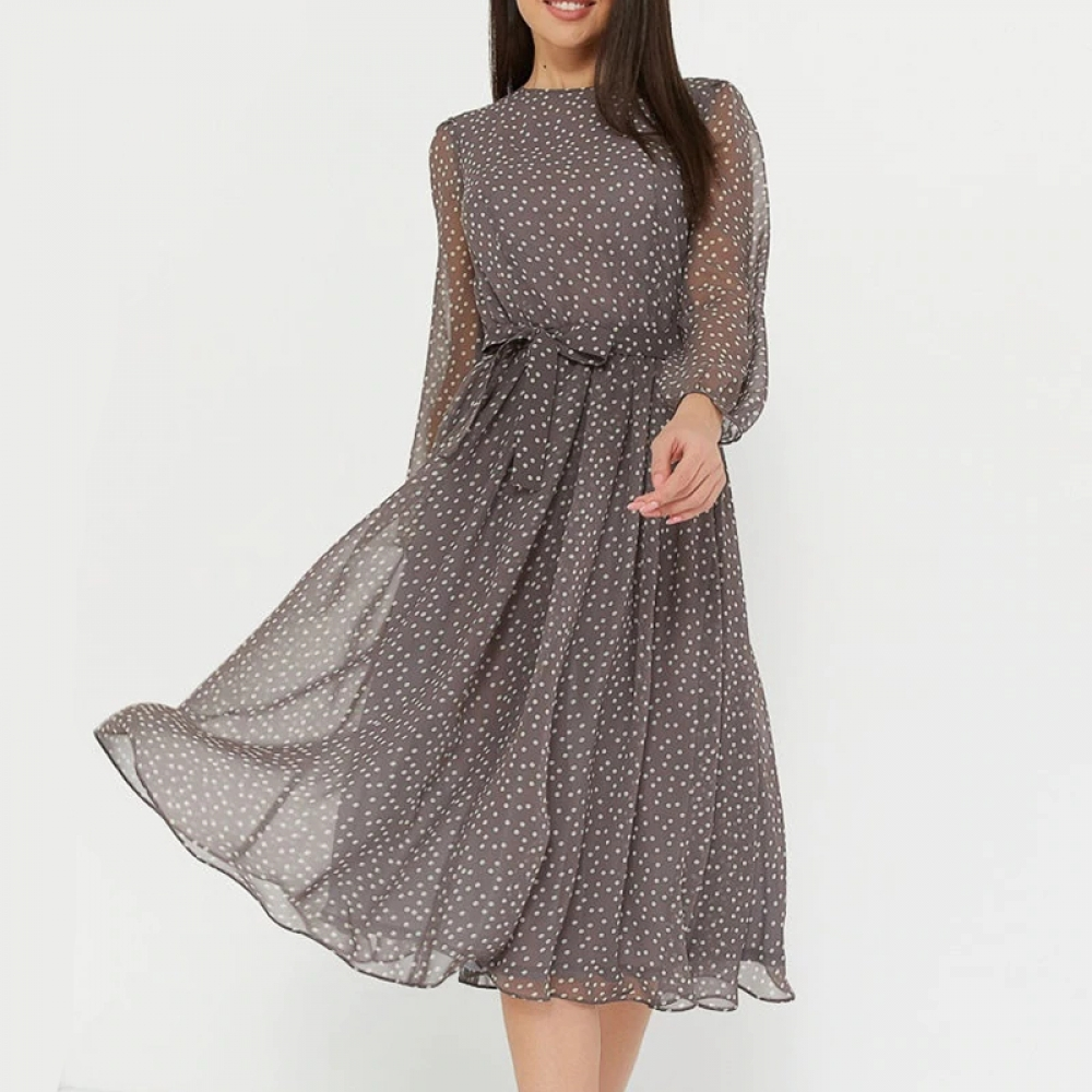 Long-Sleeved Women's Midi Dress in Polka Dot #hike #life