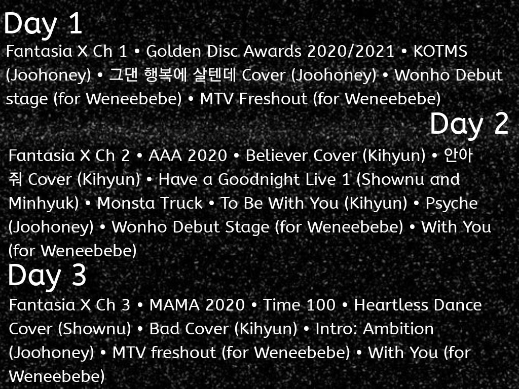 Monsta X Rewind 2020 Lineup  Stream Feb 1-7 and celebrate everything Monsta X accomplished in 2020 using the hashtag #/MonstaXRewind2020. From their success on Billboard to their first Daesang, we have a lot to celebrate!  Playlists will be provided. *Reposted because of typo