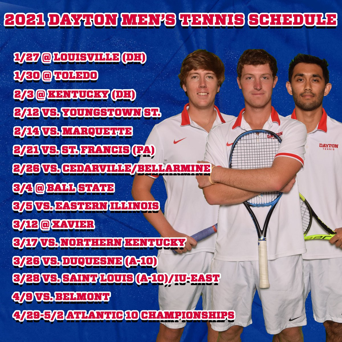 Here's a look at the 2021 Dayton Tennis Schedule! Both teams are less than a week away from competition! #GoFlyers