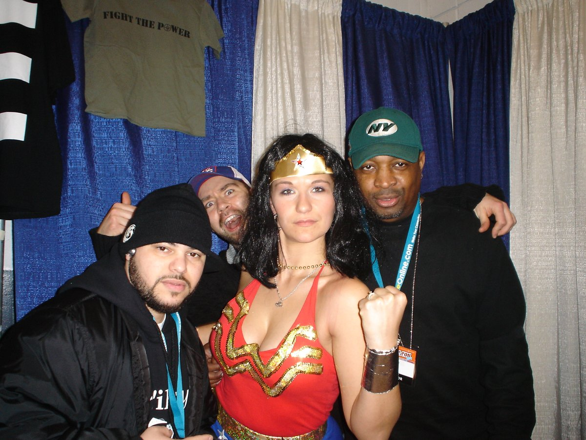 Me, @MrChuckD @JohnnyJuice and #WonderWoman at #NYCC back in the day.