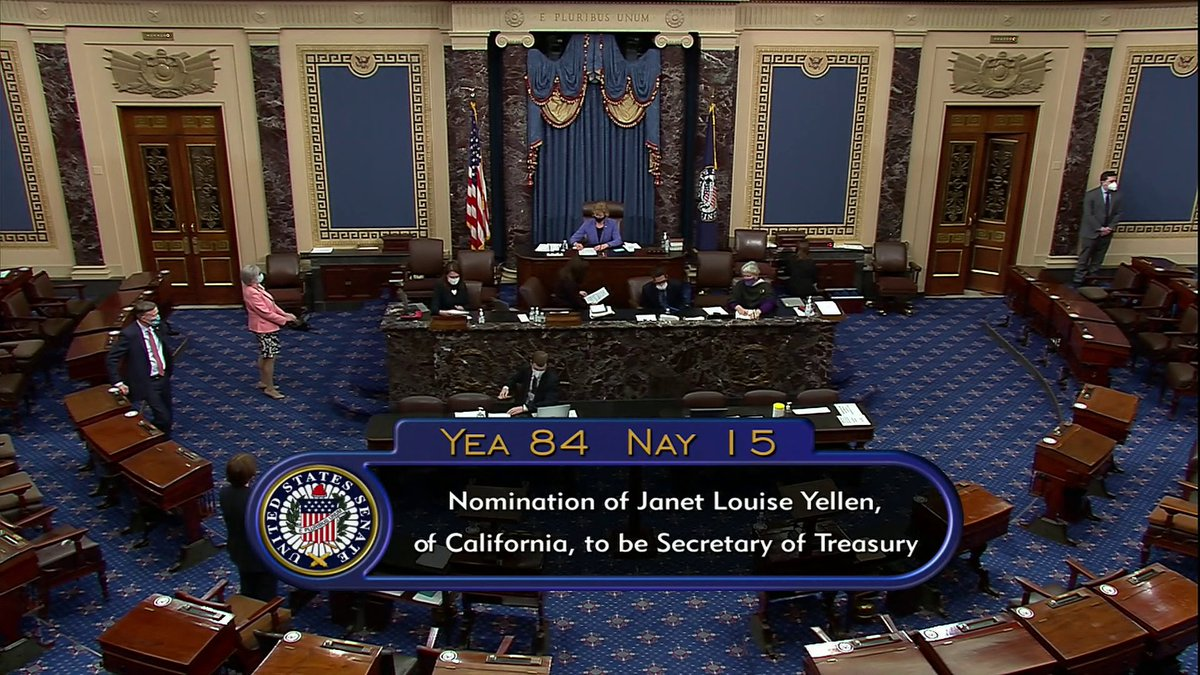 U.S. Senate, in 84-15 vote, confirms Janet Yellen as secretary of Treasury. Yellen becomes the first woman to hold the position.