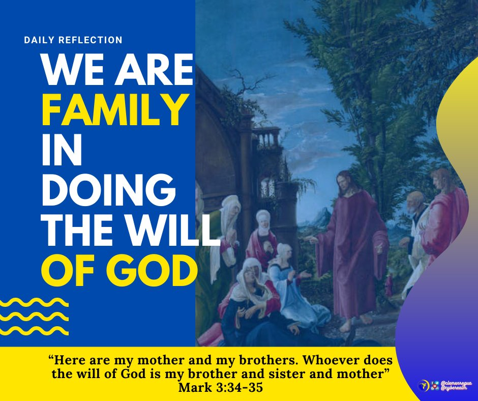 """we become His """"brothers and sisters"""" in that we become intimate members of His eternal family and enjoy a profound and spiritual union with Him.   #GospelReflection #DailyReflection #Reflection #Gospel #Catholic"""