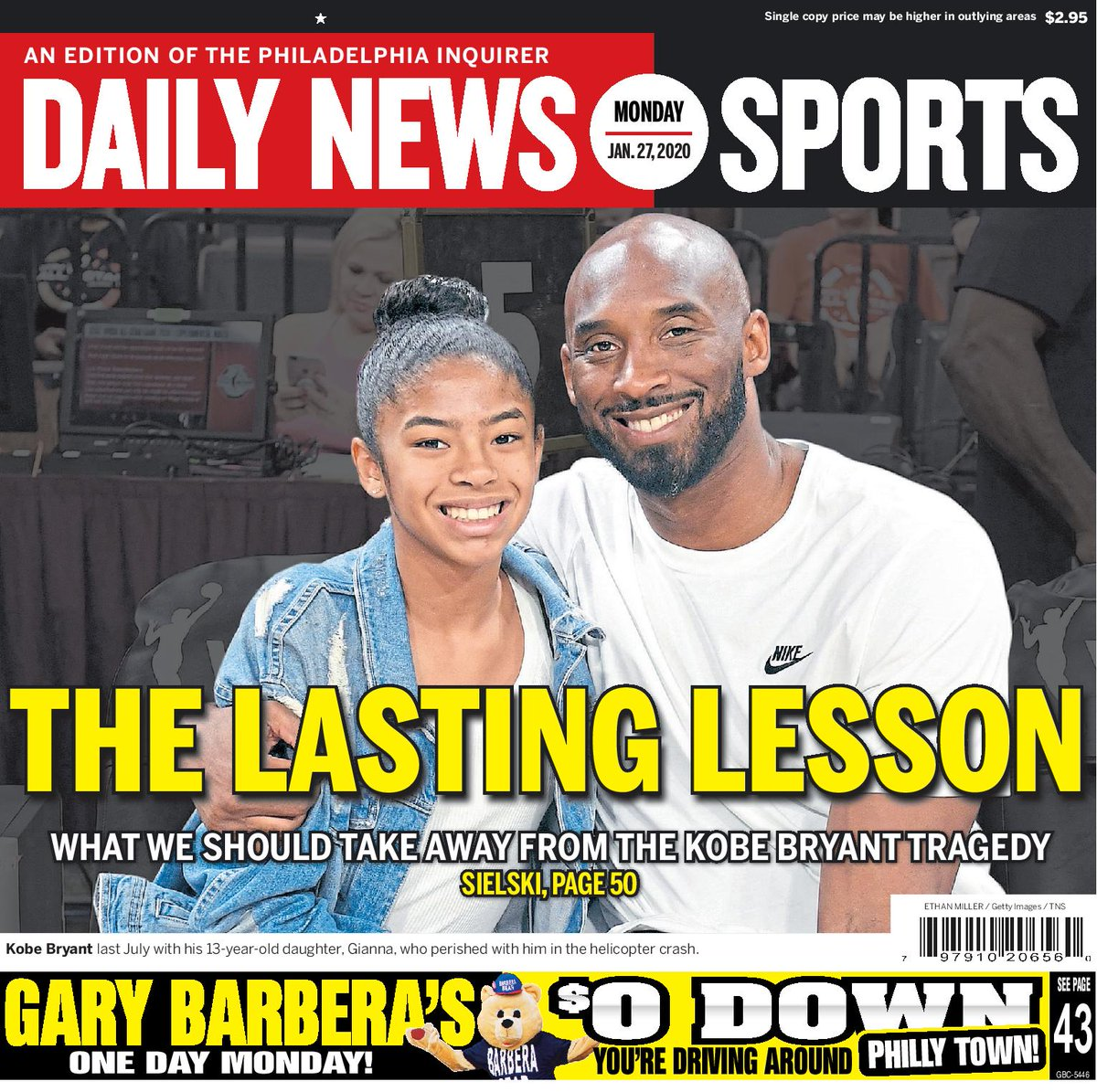 One year ago today, the world lost #Kobe Bryant. A look at some of the coverage found in the #Philadelphia Daily News (@PhillyDailyNews) from that fateful day. #AlwaysPhilly  #Mamba   Subscribe: https://t.co/jkTC1m82hc https://t.co/BbPa83RxNe