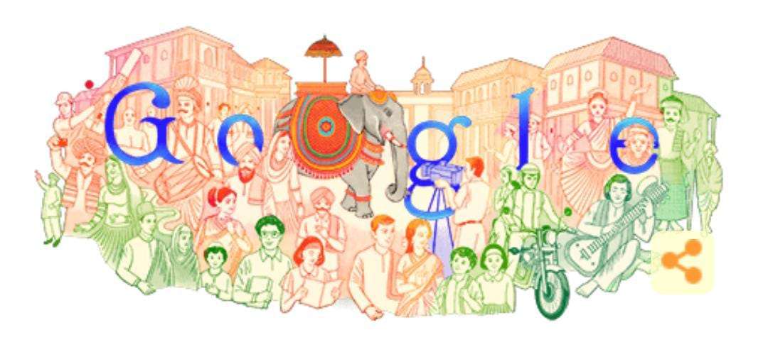 Today's #GoogleDoodle to mark India's #RepublicDay on Google's landing page.  @GoogleIndia   #72ndRepublicDay   #RepublicDay2021