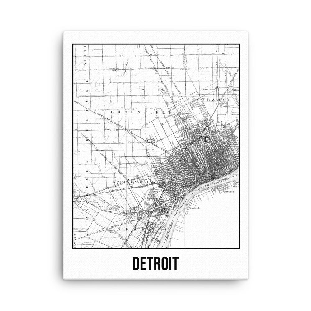 Retweet and Follow to enter our monthly #vintage #travel #poster #giveaway  #Detroit Antique Canvas Print Map White      #etsy #vacation
