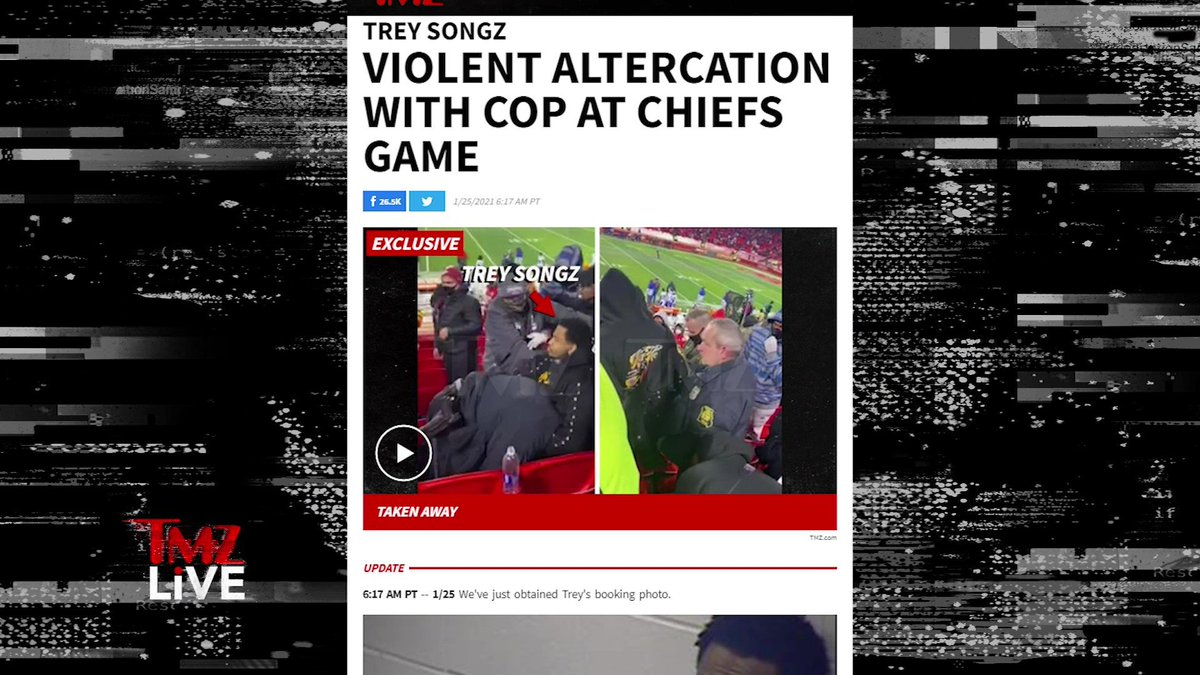 #TreySongz arrested for a crazy attack on a cop -- held him in a headlock at the #Chiefs game. More coming up NEXT on @TMZLive!  #TMZLive https://t.co/mzmzZIlpku