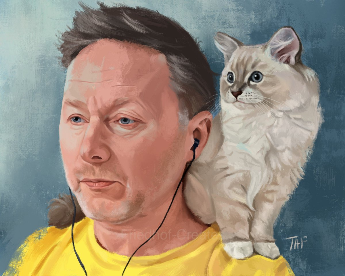 A Man and His Cat I just had to paint Limmy and Bobbi.