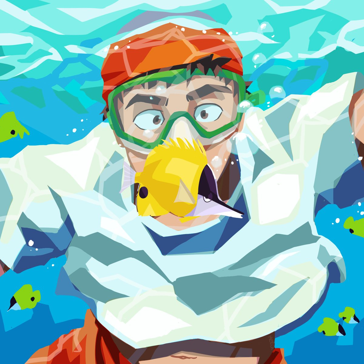 Serizawa Week Day 2: Exploration #serizawaweek #serizawaweek2021 Trying out some lineless again :3 fish....