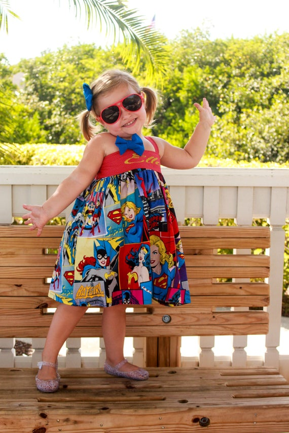 Little Girls Superhero Dress, Wonder Woman Birthday,  #clothing #girls'clothing #dresses #superherodress