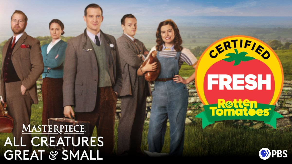 #AllCreaturesPBS is CERTIFIED FRESH at 96% on @RottenTomatoes! Don't miss out on this heartwarming series: https://t.co/Qdg11CvThc https://t.co/XnlyomPbjs