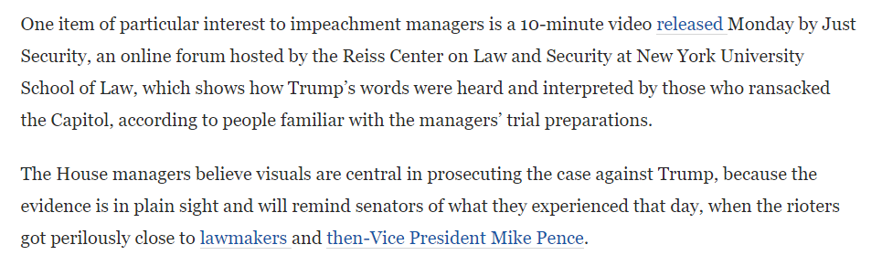 "Washington Post:  ""One item of particular interest to impeachment managers is a 10-minute video released Monday by Just Security ... which shows how Trump's words were heard and interpreted by those who ransacked the Capitol.""  cc: @just_security"