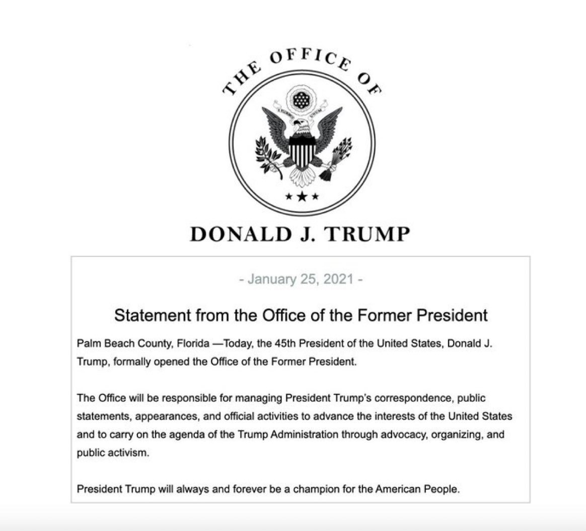 JUST IN - Donald Trump establishes the Office of the Former President.