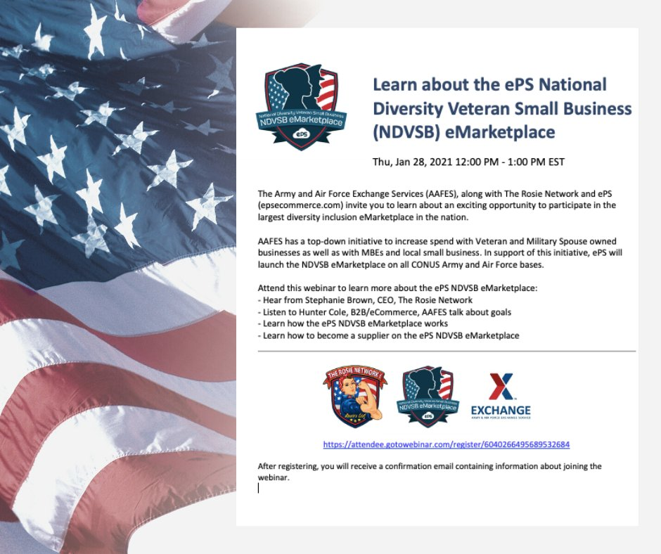 Are you veteran or military spouse owned business owner?  Want to learn about the ePS National Diversity Veteran Small Business (NDVSB) eMarketplace, Thursday, Jan 28, 2021 12:00 PM - 1:00 PM EST   #supplierdiversity #veteranowned #militaryspouseowned