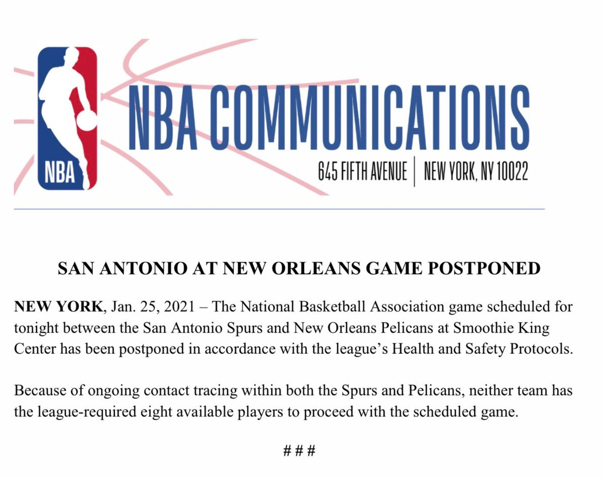 The NBA has announced that the game scheduled tonight between the Spurs and Pelicans has been postponed https://t.co/bNtlfOFG2z