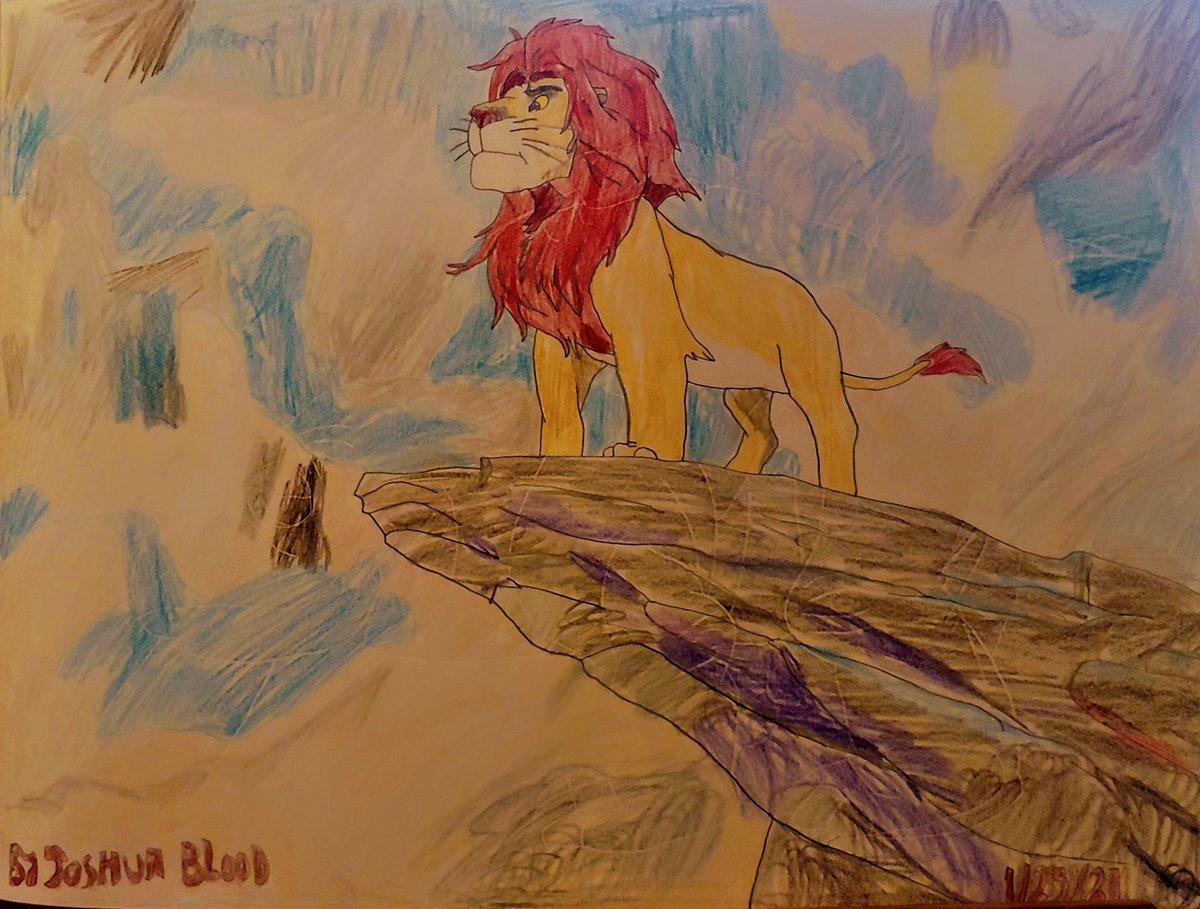 I finish drawing picture of #simba standing on #priderock, but he will become king of the #pridelands. From @disneylionking. 🦁👑 @DisneyMovies @Disney #simbalionking #kingofthejungle #TheLionKing @WaltDisneyCo #Matthewbroderick #simbadrawing