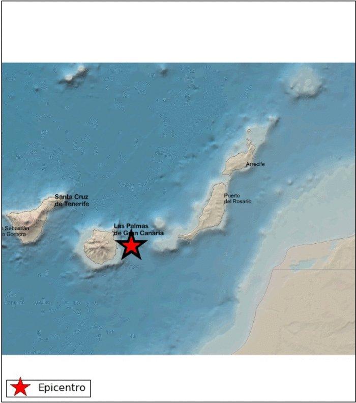 ⚠️ Terremoto de magnitud: 2.9 a una distancia de 50.2 Kms de Gran Canaria. Se ha producido un terremoto de magnitud 2.9 en ATLÁNTICO-CANARIAS en la fecha 25/01/2021 23:47:27 en la siguiente localización: 27.9754,-15.1615 #terremoto #grancanaria #IslasCanarias #earthquake