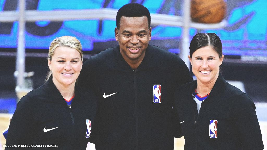 Jenna Schroeder and Natalie Sago are the first female duo to officiate the same NBA game 🙌  The duo is part of the team officiating Hornets-Magic in Orlando.